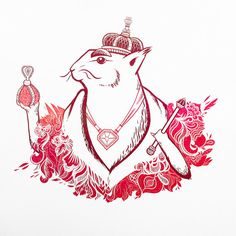 Squirrel King Art Print. Pink and Brown Woodland Flowers