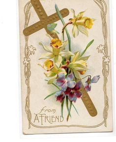 Image detail for -vintage easter postcard cross with flowers religious from ...