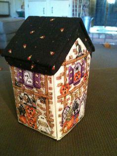 Cute Haunted house needlework box from Lori Christian Renfro Fall Cross Stitch, Cross Stitch House, Cross Stitch Finishing, Cross Stitch Needles, Cross Stitching, Cross Stitch Embroidery, Cross Stitch Designs, Cross Stitch Patterns, Everything Cross Stitch