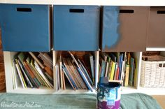 painting Fabric Bins Expedit from Ikea bin fabric painting Tiny Bedroom Storage, Sewing Room Storage, Paint Storage, Fabric Storage Bins, Fabric Bins, Cube Storage, Craft Storage, Toy Storage, Painting Walls Tips