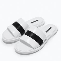 low cost b8c5a 29ae9 Zara sandals in white size 8 or new Zara sandals in white and black stripe  size 8 or new without box Zara Shoes Sandals