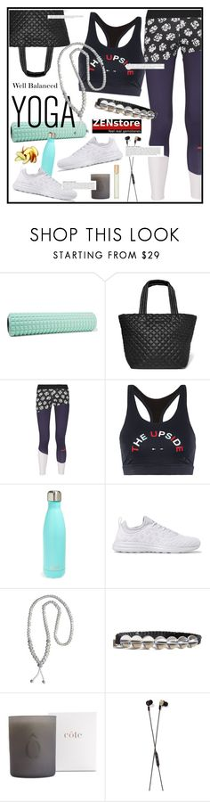 """""""Namaste: What to Wear to Yoga"""" by zenstore ❤ liked on Polyvore featuring No Ka'Oi, M Z Wallace, adidas, The Upside, S'well, Athletic Propulsion Labs, B&O Play, Anja, Aromatherapy Associates and yoga"""