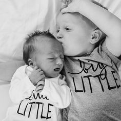 Little Faces Apparel sibling tees - Little little baby gown and big brother graphic tee. Pregnancy announcement, baby announcement. //: @mountainbreeze__