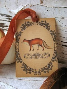 The Fox--Vintage Style Gift Tags-Featured in Country Living Magazine Vintage Fox, Vintage Tags, Vintage Style, Vintage Postcards, Fantastic Fox, Mr Fox, Little Fox, Fox Art, Woodland Creatures