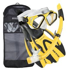 Divers Cozumel Snorkeling Set Mask Proflex Fins Splash Guard Snorkel Gear Bag Standard Material With Top And Full Foot