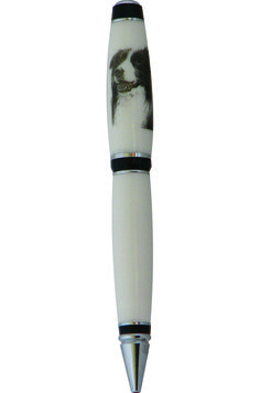 This is a color filled laser engraved Border Collie image on a Pen that was hand made from Dupont Corian