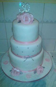Pink-silver rose birthday cake