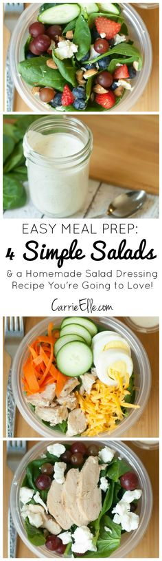 These four simple salad recipes for perfect for preparing ahead and grabbing on your way out the door. They are healthy and will save you time and money! There's also a DELICIOUS salad dressing recipe to go with (tastes like Ranch, but easier to make and has fewer calories!).