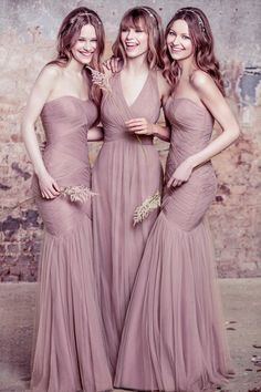 Taupe mix and match bridesmaid dresses