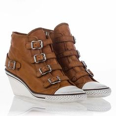 Ash - Genial Wedge Sneaker Camel Leather