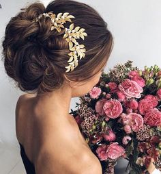 Updo with Flower Headpiece