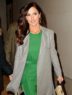Love this look! Green dress, grey jacket, understated make-up, hair color- love it all!