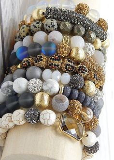 erimish is a beautiful blend of natural stones, czech crystals and gold filled pieces that make up an amazing assortment of bracelets. choose one, choose two or choose ten. no two exactly alike! plent