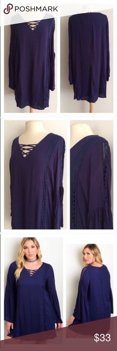 """(Plus) Blue dress Blue boho dress. 100% rayon. This has minimal stretch, but it is slightly oversized. Fully lined XL: L 36"""" • B 44"""" 3x: L 37"""" • B 48"""" ⭐️This item is brand new from manufacturer with tags  🚫NO TRADES 💲Price is firm unless bundled 💰Ask about bundle discounts Availability: XL•3x • 3•1 Dresses"""