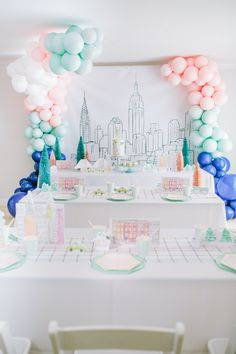 Looking for a party featuring the city that never sleeps? Wait until you set your eyes on this Pastel New York City Birthday Party by Juliette Kim of C+W Events, out of Belmont, CA! Featuring darling artwork decor and NYC sweets, this event is at the top of it all! So stroll in and be sure to find all of these fab ideas that Lady Liberty and all will find divine:  NYC Themed Cake Artwork Props I Heart NY Cupcakes Balloon Installs Pastel Geometric Plates New York Favor Sacks  The post… Cute Birthday Ideas, Girl Birthday Themes, Sweet 16 Birthday, 10th Birthday, 1st Birthday Parties, Milestone Birthdays, First Birthdays, Welcome Home Parties, Cake Table Decorations
