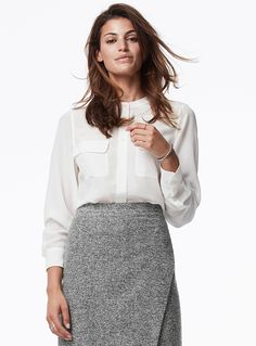 Blouses featuring oversized and asymmetric fits, long and short sleeves, thin straps, and off-the-shoulder styles in fluid, light fabrics. Cool Outfits, Amazing Outfits, Dressed To Kill, Short Sleeves, Long Sleeve, Pure Silk, Blouses For Women, Off The Shoulder, Marie