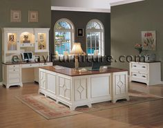 White Office Furniture Collections | Distressed White Executive Home Office Desk and Return LOVE THIS!
