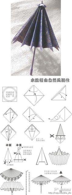 【小纸伞折纸图解】,Paper Crafts, Free Printable Kids Activities, umbrella Template to Print, umbrella,paper, craft, folding