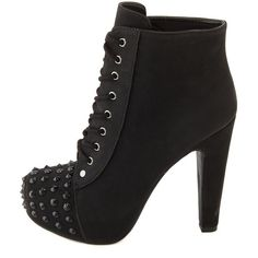Tonal Stud Lace-Up Bootie (2265 RSD) ❤ liked on Polyvore featuring shoes, boots, ankle booties, black, black bootie, lace up high heel booties, black studded booties, lace up ankle boots and black booties