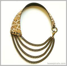 """Maxi Collar de Piel """"Animal Print"""" Beige/Marrón. Maxi Leather Necklace """"Animal Print"""" Beige / Brown  www.lesespirals.com"""