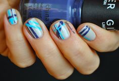 Lydia's Nails: Nude and Blue Stripes with China Glaze The Giver Collection