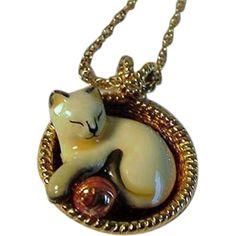 Vintage Sterling Vermeil Enamel Pendant Necklace Siamese Cat in Basket w Ball on Chain