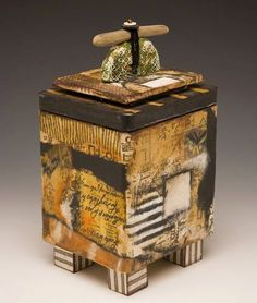 Deborah Gorton_Hidden Truth_ mixed media, papers, beads, polymer clay on vintage cannister Ceramic Boxes, Ceramic Jars, Ceramic Clay, Slab Pottery, Ceramic Pottery, Pottery Wheel, Altered Boxes, Altered Art, Slab Boxes