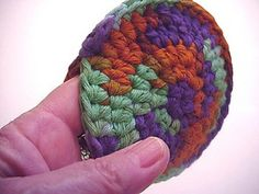 "Ravelry: ""Snuggle Puff"" Circular Face Scrubbie pattern by Cheryl Davis OOOH! Sewing two together would be a cool idea!"