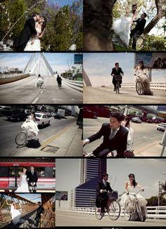 Fotografía trash the dress #boda, en bicicleta por Guadalajara