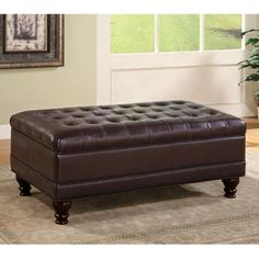 Delicieux Coaster Tufted Storage Ottoman, Dark Brown