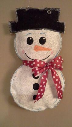 Burlap Snowman door hanger