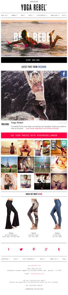 Yoga Rebel communicate its unique approach to yoga with this branding campaign w/ live social feeds from Instagram & Twitter