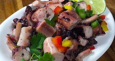 Ensalada con Tentaculos de Calamar estilo pulpo en aceite vegetal