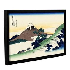 """ArtWall Mt Fuji In The Sunset by Katsushika Hokusai Framed Painting Print on Wrapped Canvas Size: 32"""" H x 48"""" W"""