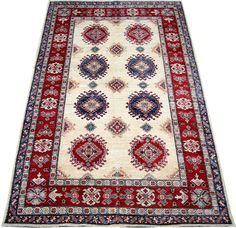 Today's Kazak is a modern shape of old Caucasian rugs which strictly adheres to traditional design elements of the Caucasus. It has elements such as the stepped hooked polygons, geometrical medallions and rosettes, presented in more stylized manner and with a new dimension.  http://www.alrug.com/4879