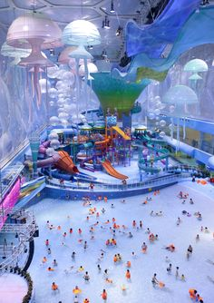 Awesome Water Park inside of the Water Cube in Beijing.