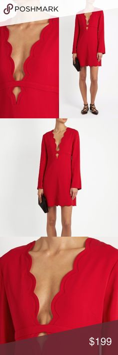 """A.L.C. Eve Scalloped Stretch Crepe Red Dress A.L.C. """"Eve"""" mini dress in stretch crepe with scalloped trim. Plunging V neckline with keyhole detail. Long sleeves. Empire waist. Sheath silhouette. Hidden back zip. Rayon/spandex. Lining: polyester/spandex. Imported. A.L.C. Dresses Mini"""