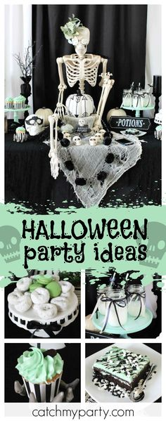 Check out this spooky modern Halloween party. The dessert table is so creepy!! See more party ideas and share yours at CatchMyParty.com #halloween #party