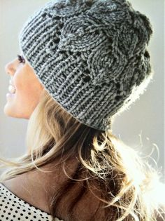 a lovely knitted hat with leaves designed by Lene Holme описание на русском