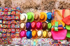 Colorful hats at Cartagena, Colombia