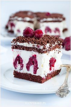 Ciasto z malinami i mascarpone - I Love Bake Cookie Desserts, Sweet Desserts, Sweet Recipes, No Bake Desserts, Brownie Recipes, Chocolate Recipes, Cake Recipes, Dessert Recipes, Food Cakes