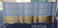 Gray & Gold 9 drawer French Provincial Dresser, Nightstands, Changing Table, Buffet, Credenza, bedroom furniture, dipped by SimonSaysSalvage on Etsy https://www.etsy.com/listing/224090106/gray-gold-9-drawer-french-provincial