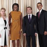 Michelle and Barack with Russian President Dimitry Medvedev and other Central Asian Leaders