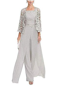 New Vincent Bridal Women's 3 Pieces Elegant Chiffon Hollow Mother Groom Bride Dress Pant Suits Wedding online shopping - Protophits Mother Of The Bride Trouser Suits, Mother Of The Bride Dresses Long, Mother Of Bride Outfits, Lace Jacket Wedding, Wedding Pants, Wedding Gowns, Evening Gowns Online, Evening Dresses, Evening Pant Suits