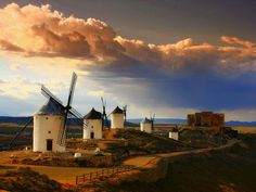 windmills in the white clouds