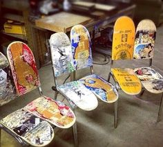 Great recycling of old skateboards.