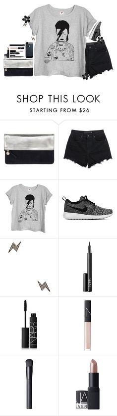 """""""R.I.P Ziggy Stardust"""" by lmacouture ❤ liked on Polyvore featuring Clare V., T By Alexander Wang, NIKE, Shay, NARS Cosmetics, SHAN, women's clothing, women's fashion, women and female"""