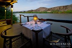 Exclusive accommodation on the Kunene in Northern Namibia. The unique and remote Serra Cafema, in the Marienfluss Conservancy, Namibia. Safari Holidays, Namib Desert, Outdoor Dining, Outdoor Decor, Romantic Honeymoon, Romantic Destinations, Game Reserve, Photography Courses, African Safari