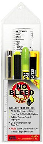 No Bleed Variety Pack - ACCU-Gel Hi-Glider Highlighter, Bible Dry Refillable Highlighter, ZeBrite Double Ended Highlighter and Black Pigma Micron Bible Pen, http://www.amazon.com/dp/B00KS8BKEE/ref=cm_sw_r_pi_awdl_aac7ub1J5RAAF