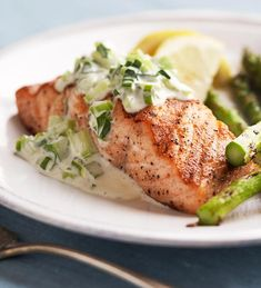 Grilled Salmon and Asparagus with Garden Mayonnaise from the Better Homes and Gardens Must-Have Recipes App
